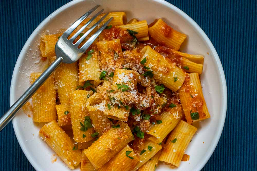 Rigatoni Amatriciana with Fork