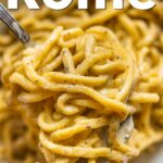 """Pinterest image: pasta with caption reading """"What to Eat in Rome"""""""