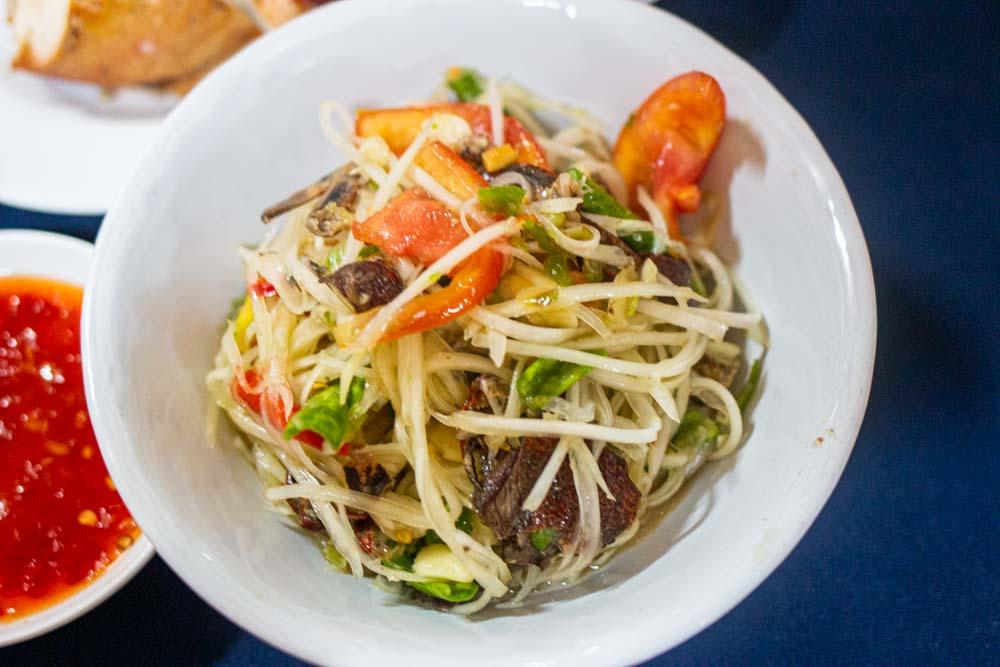 Spicy Papaya Salad at SP Chicken in Chiang Mai