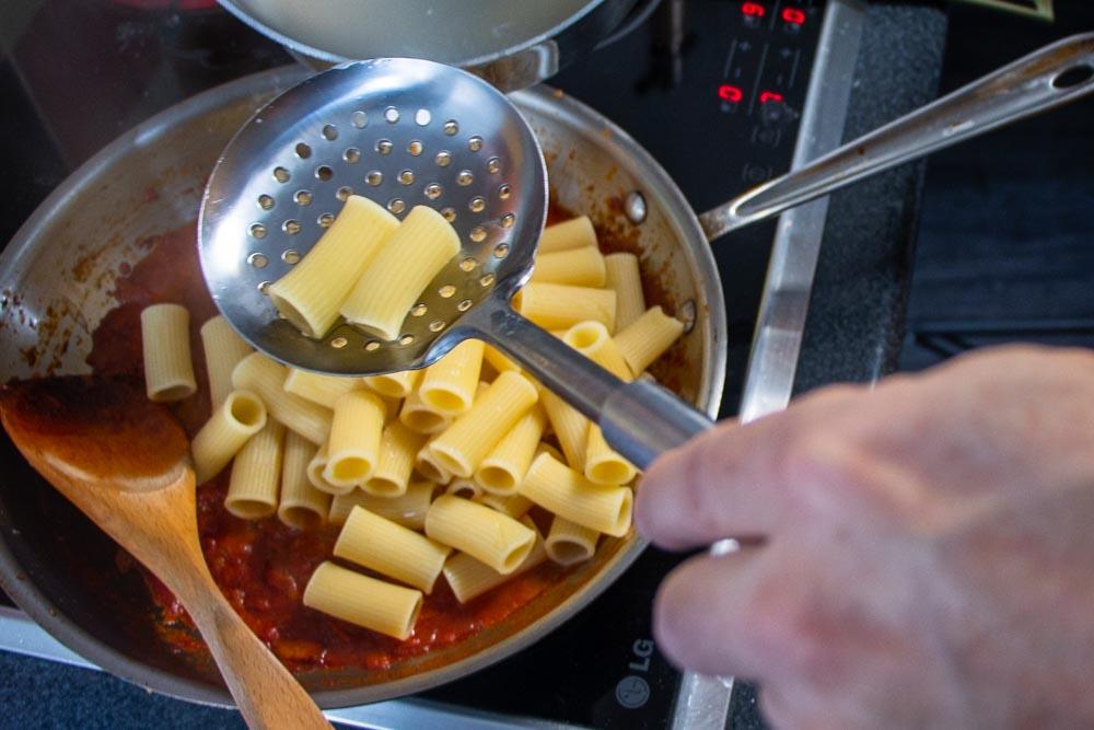 Spooning Rigatoni Noodles