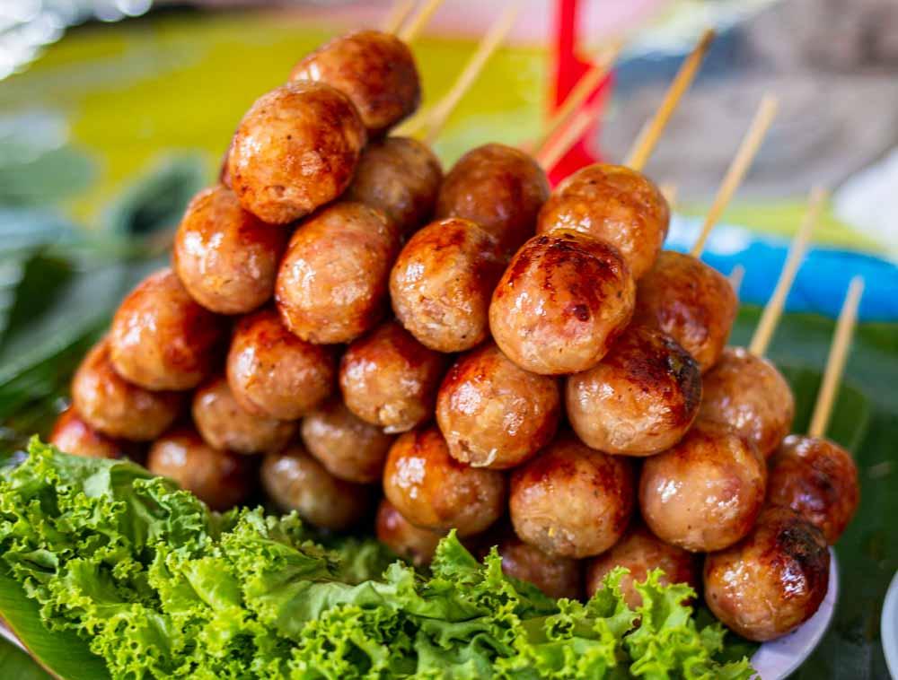 Thai Sausage at Khlong Lad Mayom Floating Market in Bangkok