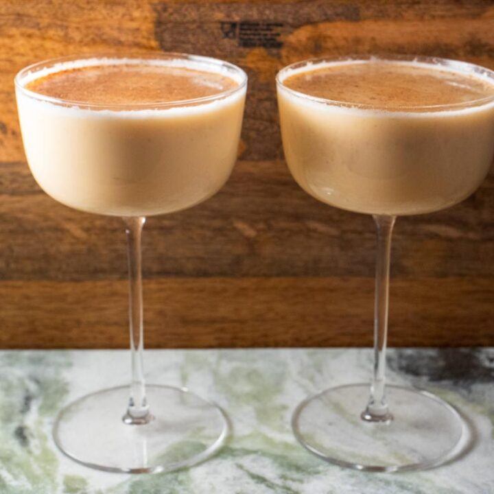 Two Bourbon Eggnogs in Coupes