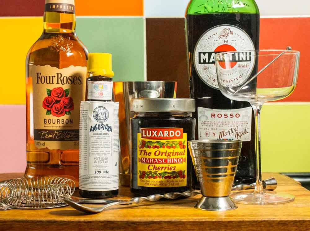 Bourbon Manhattan Ingredients Close Up