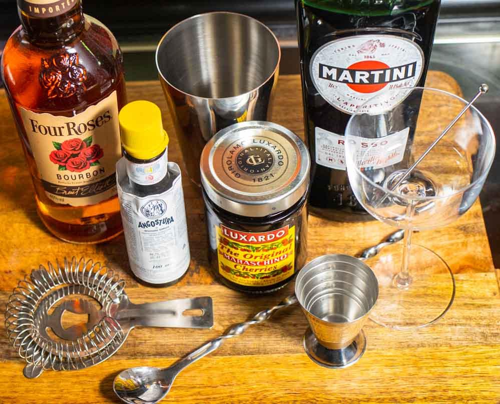 Bourbon Manhattan Ingredients from Above