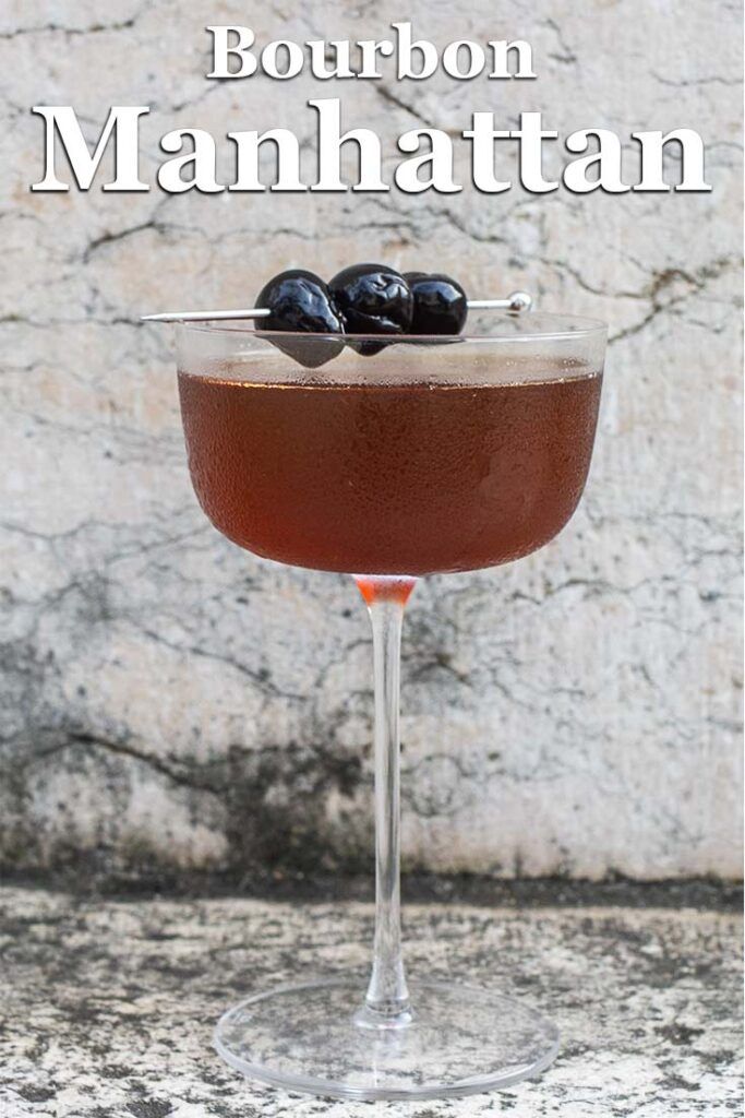 "Pinterest image: bourbon manhattan with caption reading ""Bourbon Manhattan"""