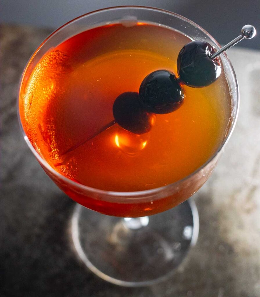 Bourbon Manhattan with Luxardo Cherries