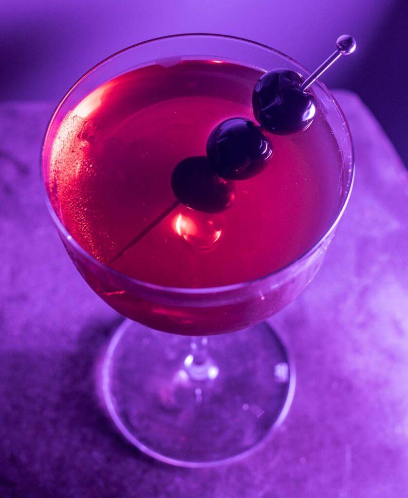 Bourbon Manhattan with Purple Light