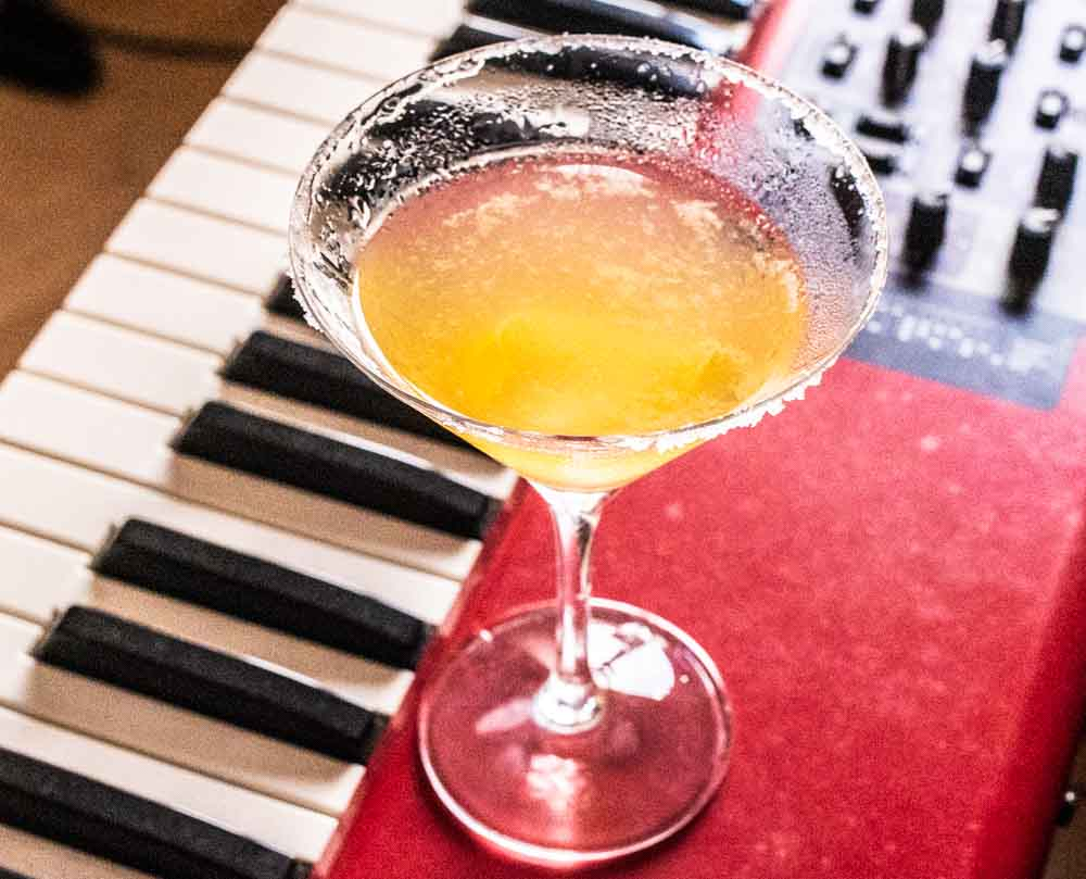 Bourbon Sidecar on Red Keyboard