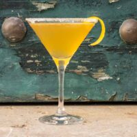 Bourbon Sidecar with Lemon Twist and Sugar Rim