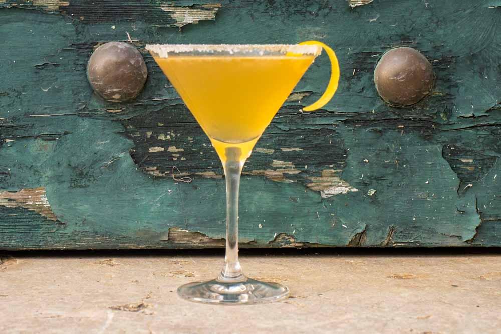 Bourbon Sidecar with Lemon Twist and Sugar Rim
