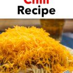 "Pinterest image: cincinnati chili with caption reading ""Cincinnati Chili Recipe"""