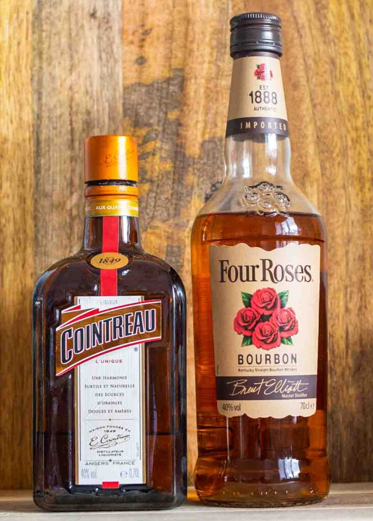 Cointreau and Four Roses Bourbon Bottles