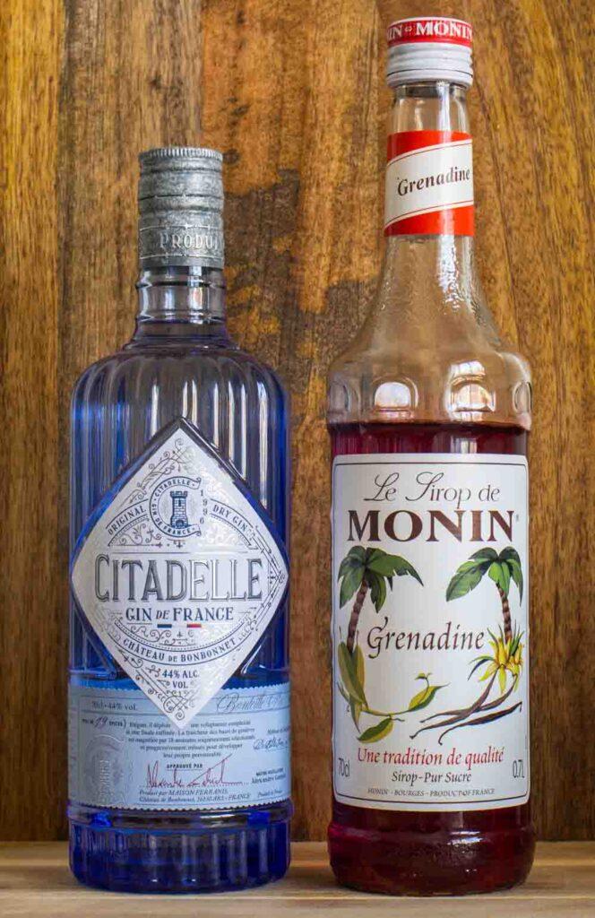 Gin and Grenadine Bottles