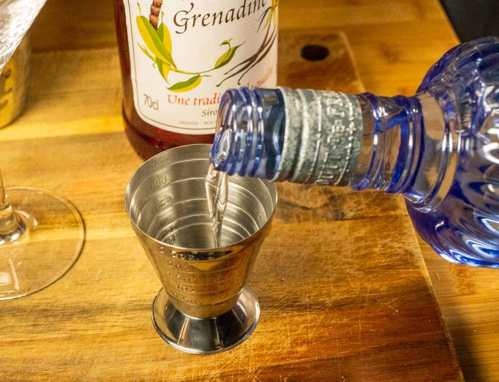 Measuring Gin in Jigger