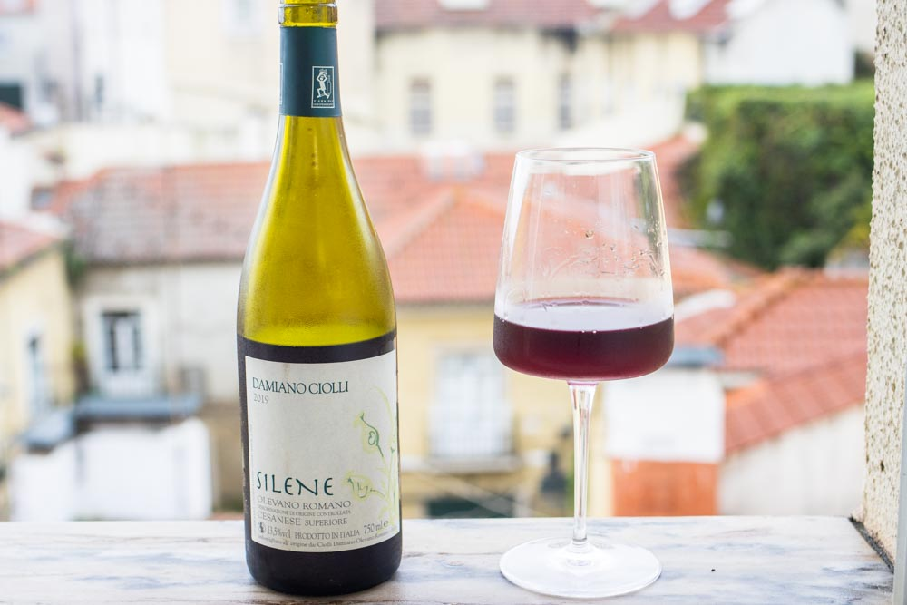 Silene Wine on Ledge in Bottle and in Glass