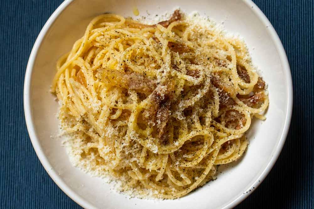 Spaghetti alla Gricia on a Placemat