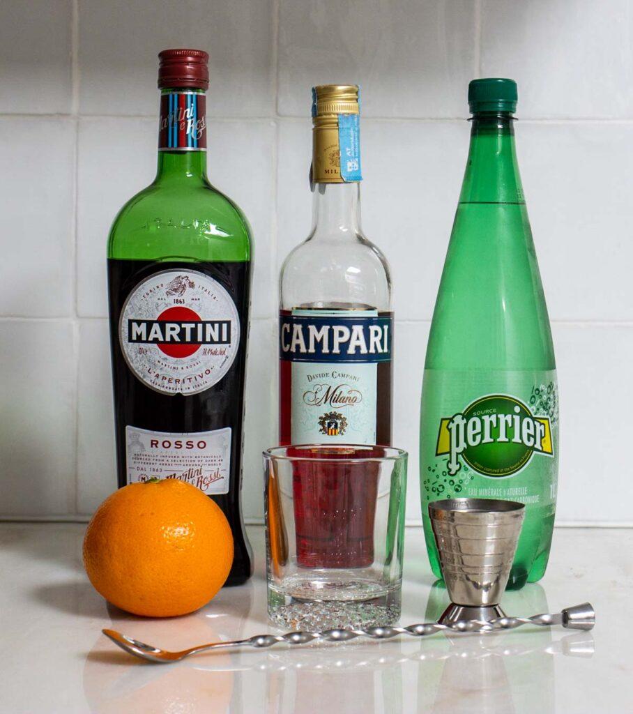 Americano Cocktail Mise en Place