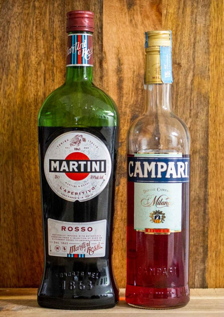 Bottles of Red Vermouth and Campari