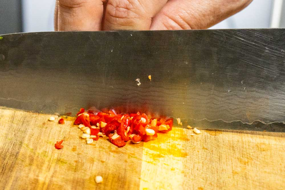 Chopping Red Peppers
