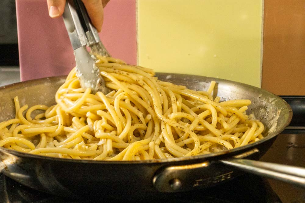 Cooking Bucatini Cacio e Pepe