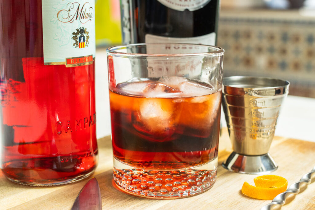 Crafted Americano Cocktail with Jigger