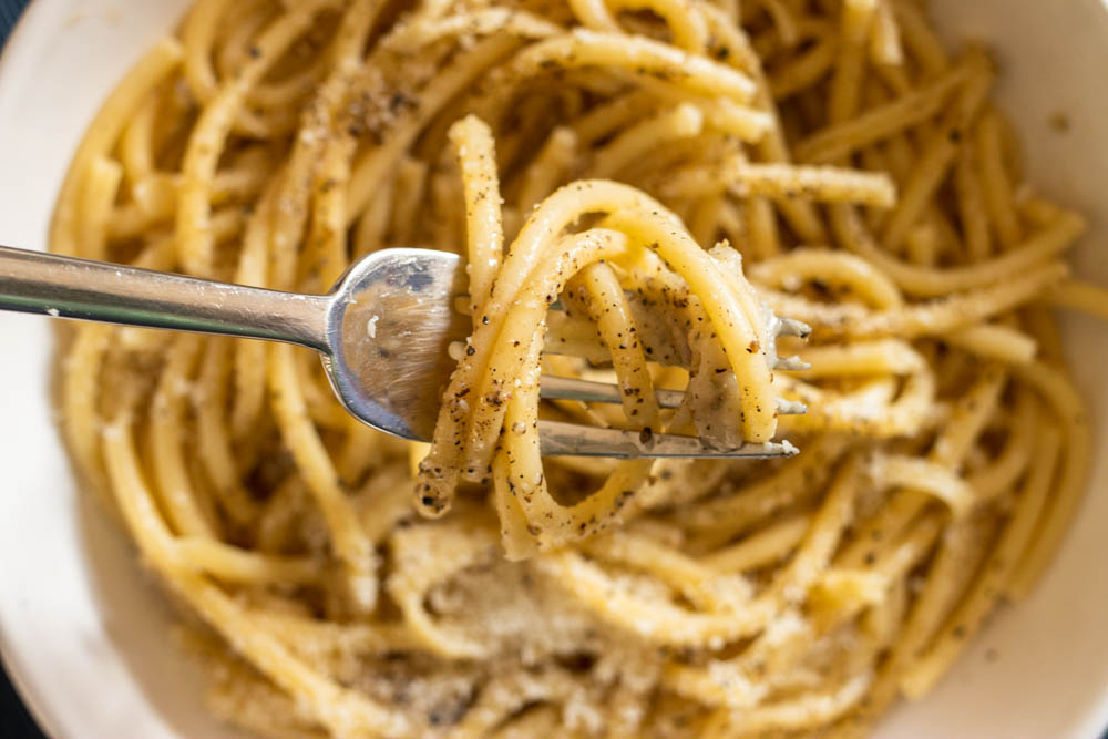 Fork over Bucatini Cacio e Pepe