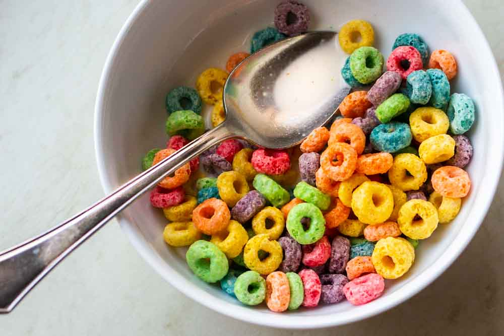 Fruit Loops with Milk in Bowkl