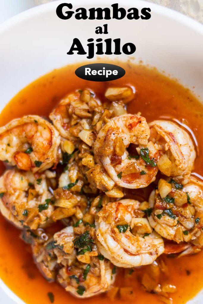 "Pinterest image: garlic shrimp with caption reading ""Gambas al Ajillo"""