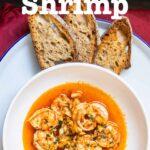 """Pinterest image: garlic shrimp with caption reading """"Garlic Shrimp"""""""