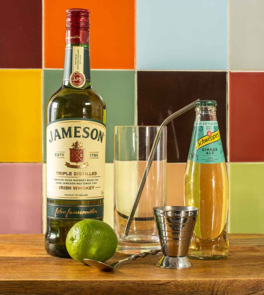 Jameson WJameson Whiskey Ginger Mise en Placehiskey Ginger Mise en Place