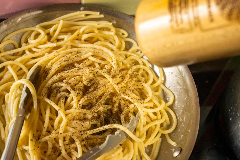 Pepper on Bucatini Cacio e Pepe