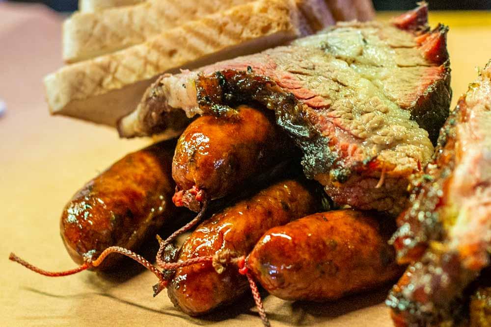 Sausage and Brisket at Kreuzs Market in Lockhart