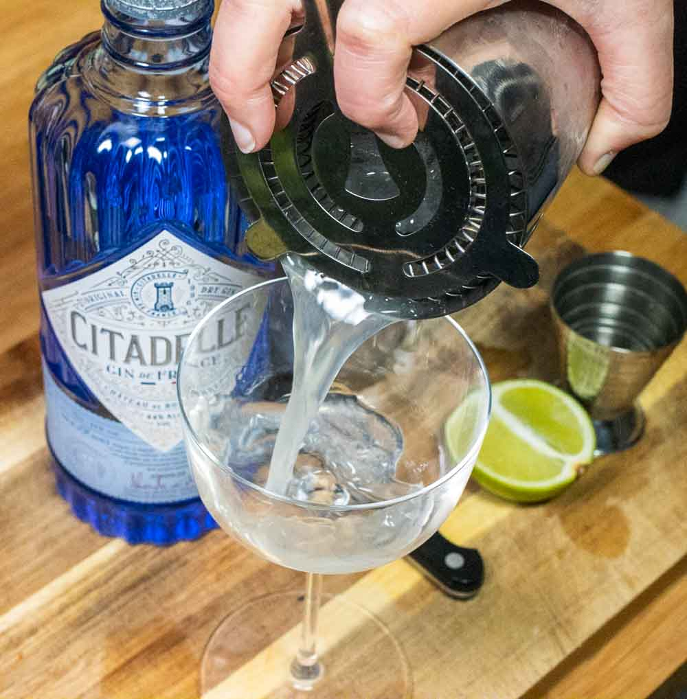 Straining a Gin Gimlet