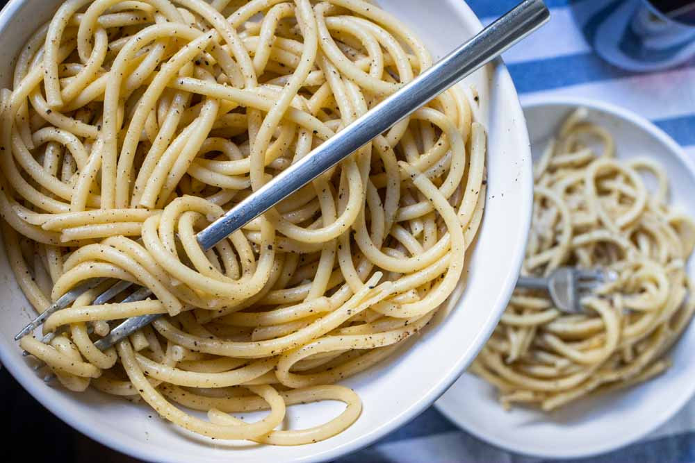 Two Bowls of Bucatini Cacio e Pepe