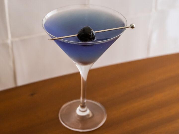 Aviation Cocktail with Maraschino Cherry