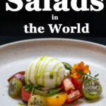 """Pinterest image: tomato salad with caption reading """"The Best Salads in the World"""""""