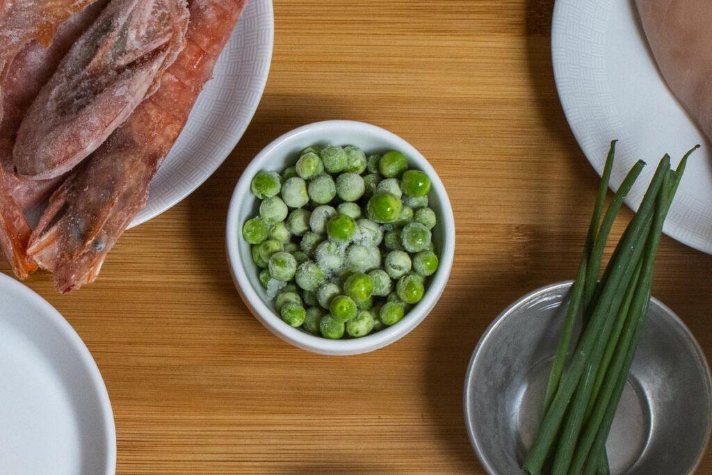 Peas on Yangzhou Rice Mise en Place Board