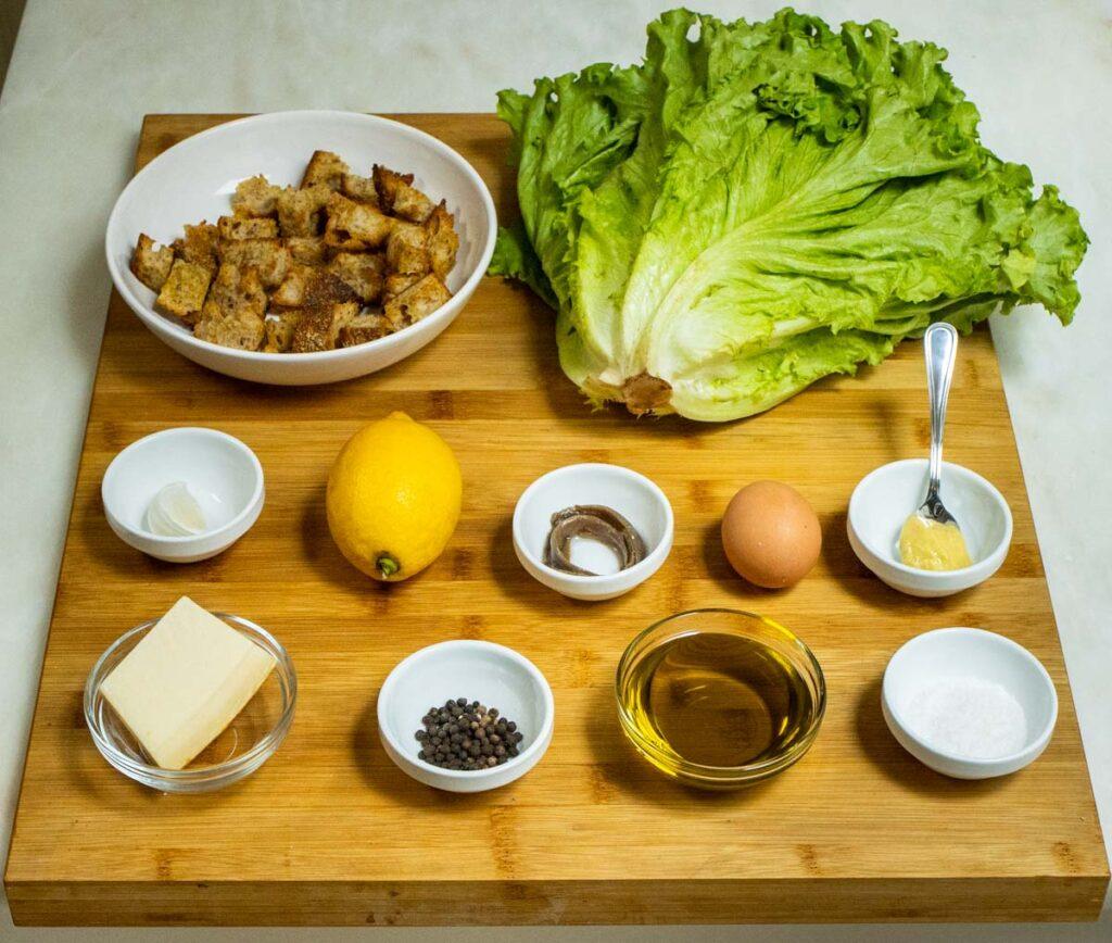 Caesar Salad Mise-en-Place