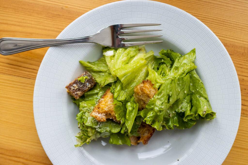 Caesar Salad on a Salad Plate