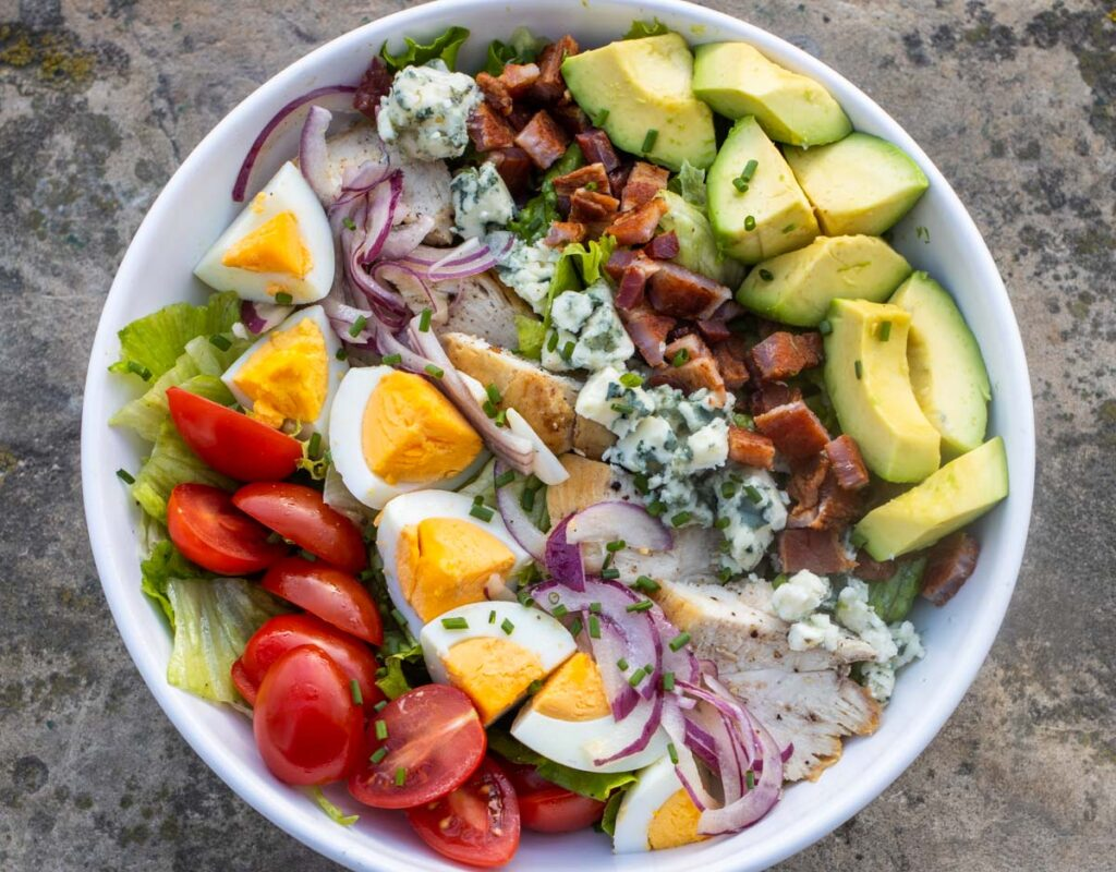 Cobb Salad Overhead Close Up