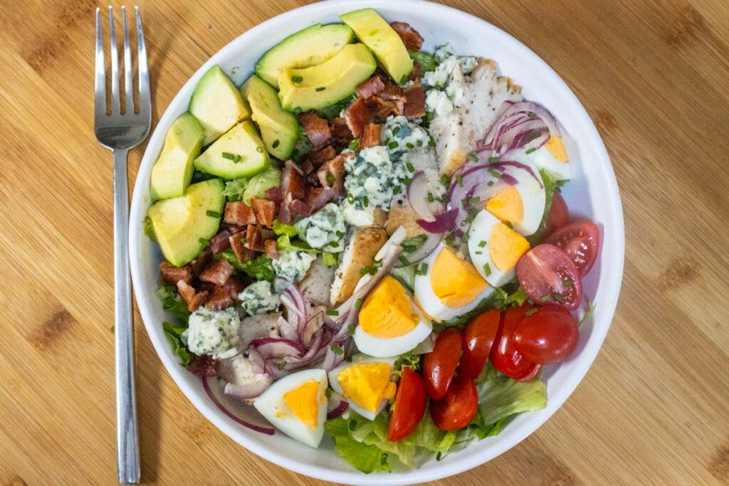 Cobb Salad Overhead on Cutting Board
