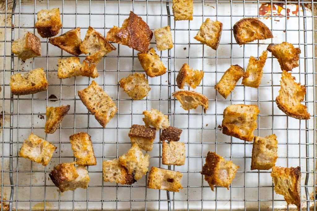 Croutons on a Cooling Rack