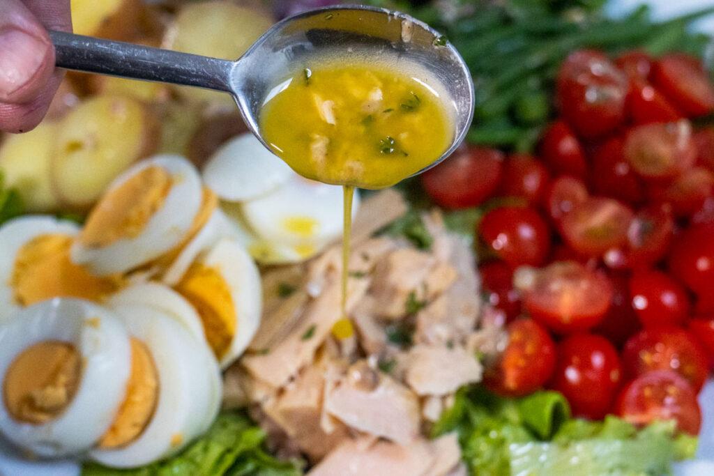Dressing a Nicoise Salad