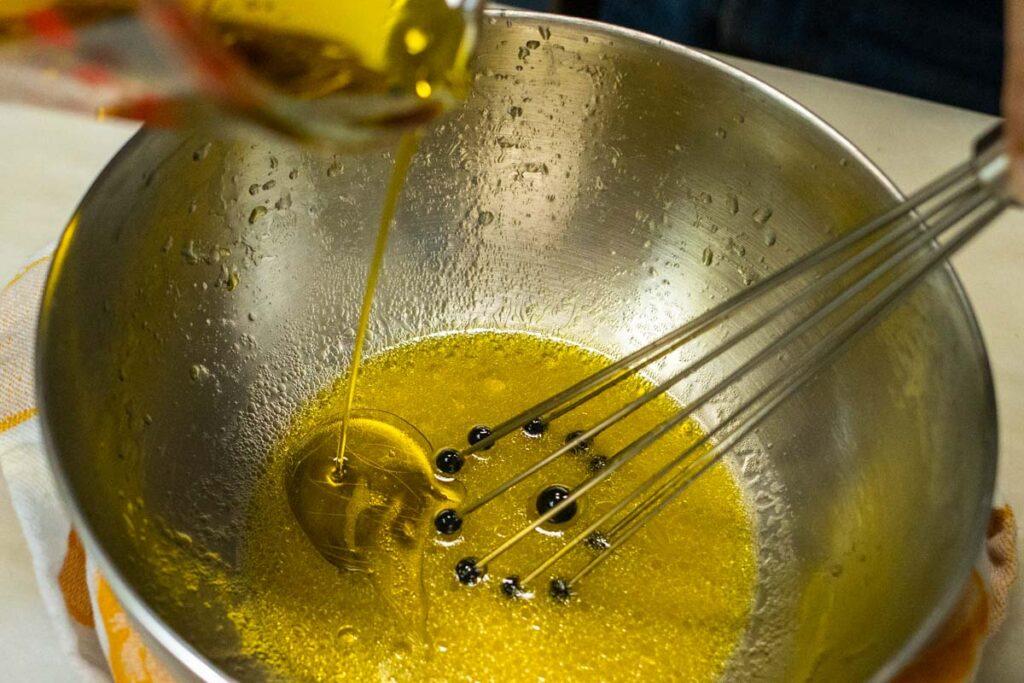 Drizzling Oil into Lemon Juice for Vinaigrette