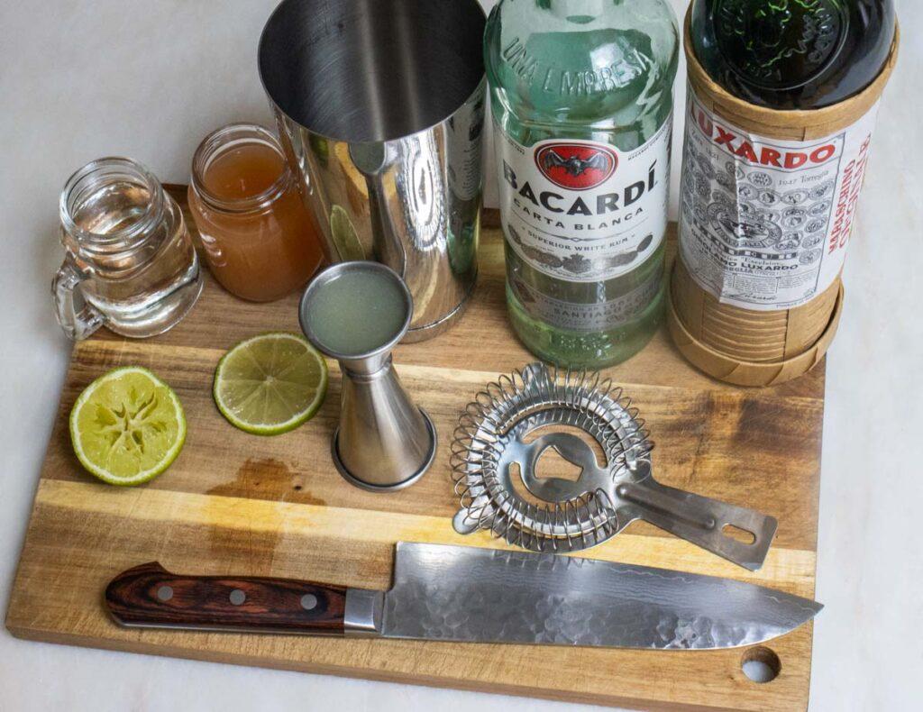 Hemingway Daiquiri Ingredients and Tools