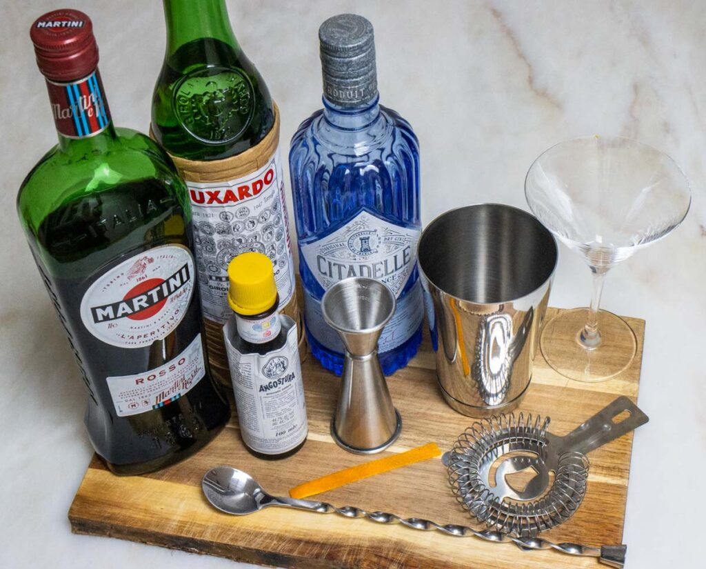 Items for Crafting a Martinez Cocktail