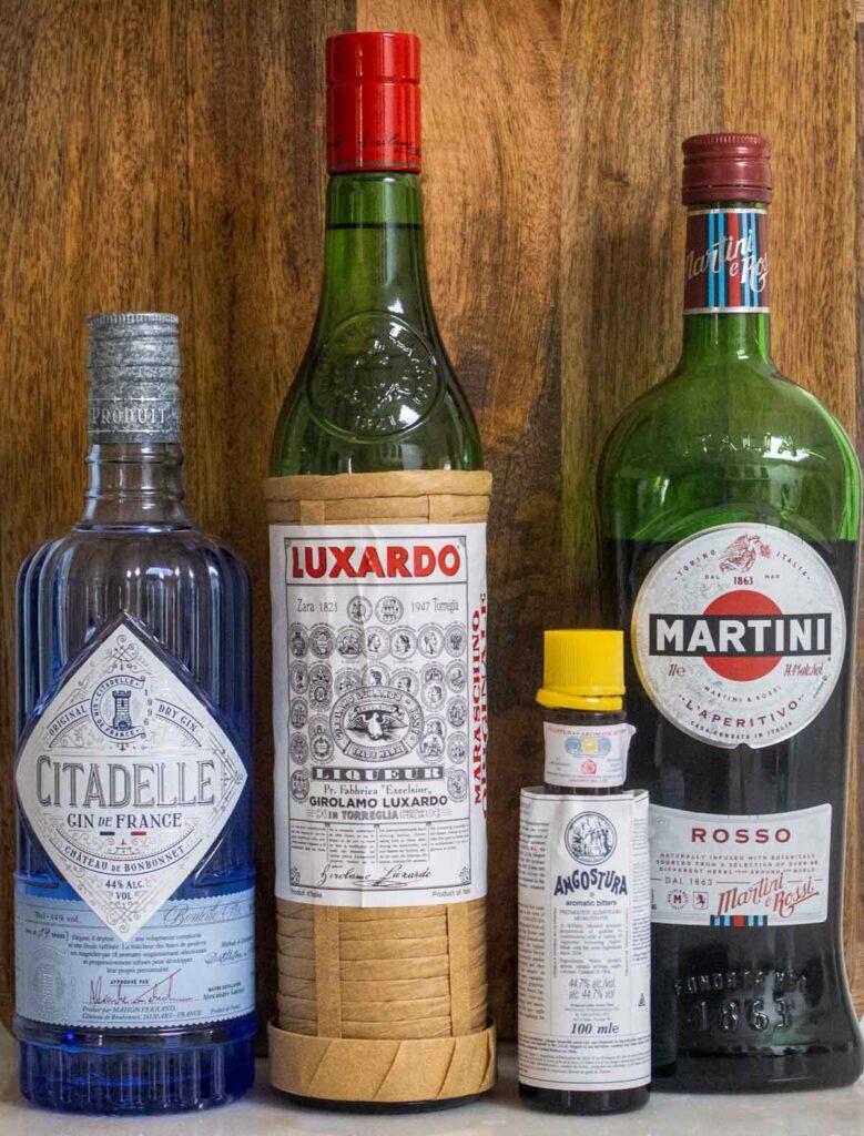 Martinez Cocktail Liquor Bottles