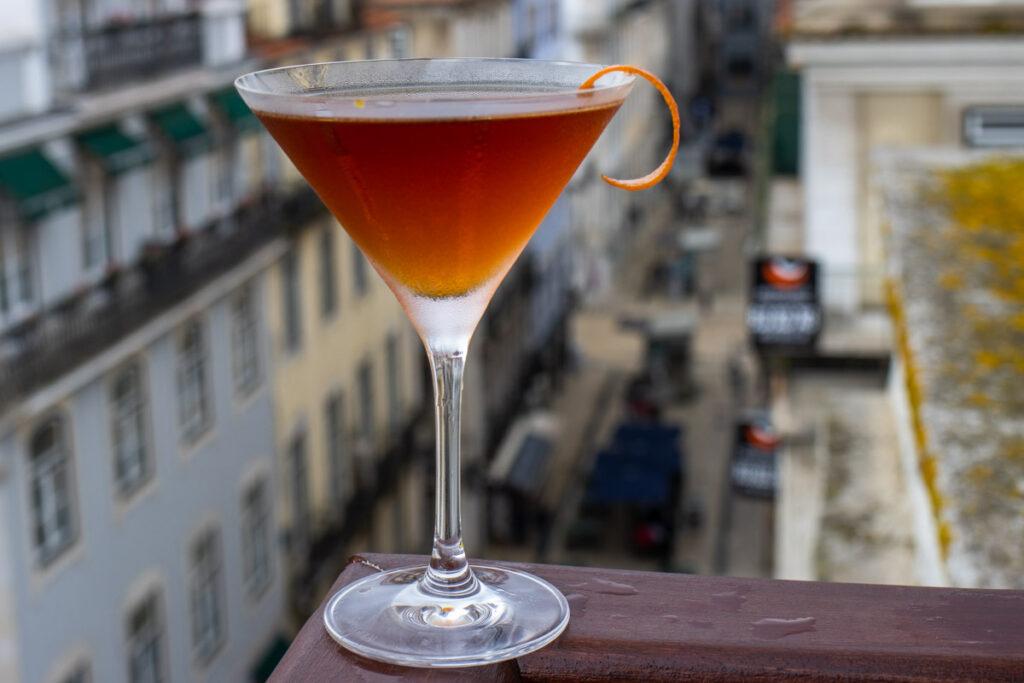 Martinez Cocktail on Ledge