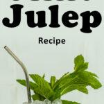"Pinterest image: mint julep with caption reading ""Mint Julep Recipe"""