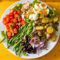 Nicoise Salad on Yellow Background